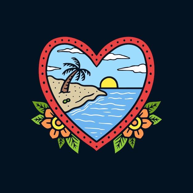 Paesaggio disegnato a mano della spiaggia sull'illustrazione del tatuaggio della vecchia scuola della struttura di forma del cuore Vettore Premium