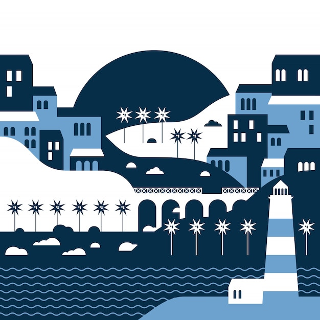 Paesaggio estivo della città balneare con un faro in stile piatto Vettore Premium