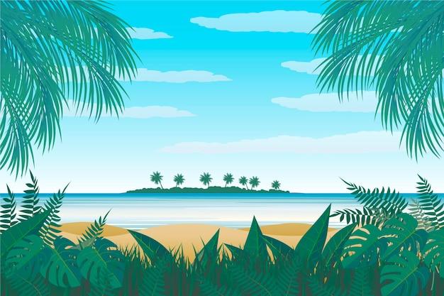 Paesaggio estivo - sfondo per lo zoom Vettore gratuito