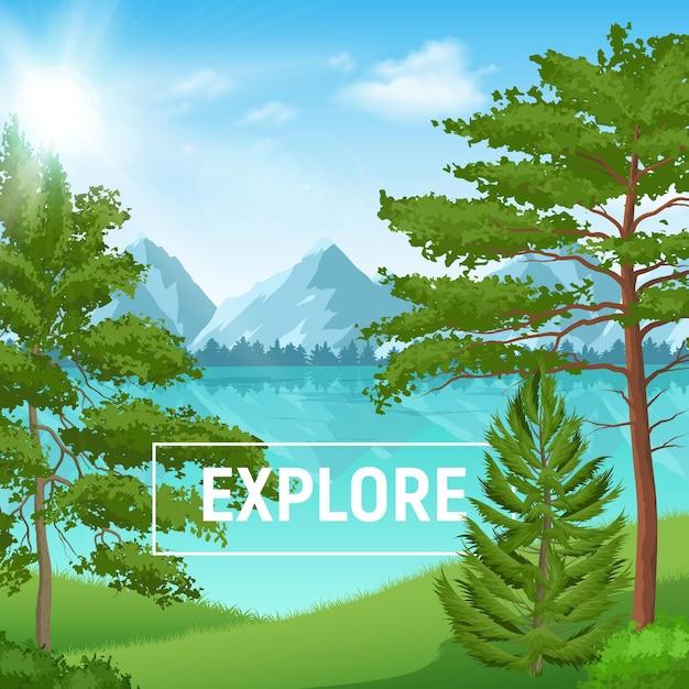Paesaggio estivo soleggiato con pineta realistica sul lago di montagna Vettore gratuito
