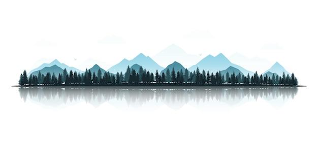 Paesaggio foresta e lago di montagna. Vettore Premium