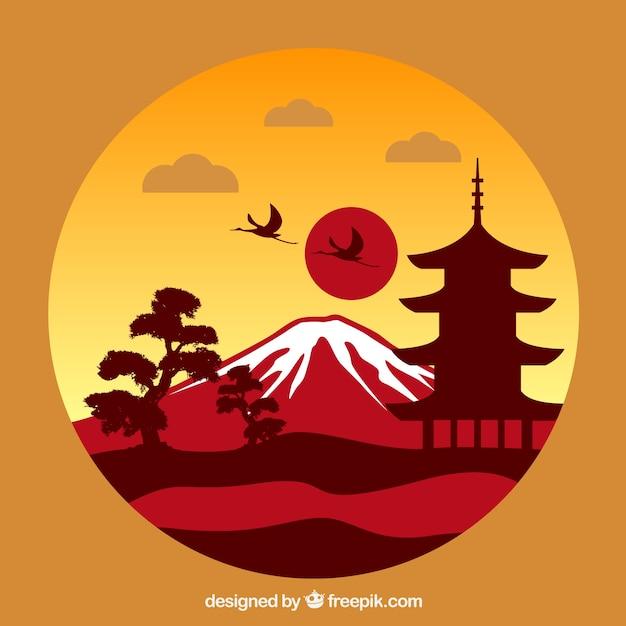 Paesaggio giapponese Vettore gratuito