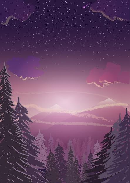 Paesaggio invernale. abetaia, montagne nevose ed illustrazione di tramonto con copyspace per fondo Vettore Premium