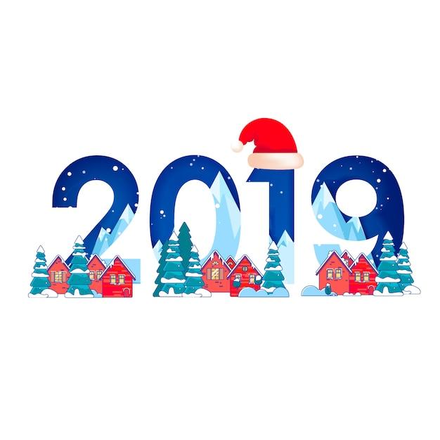 Paesaggio invernale con abeti nella neve e numeri 2019 per happy new year Vettore Premium