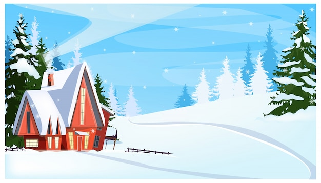 Paesaggio invernale con illustrazione cottage e abeti Vettore gratuito