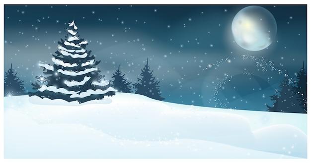 Paesaggio invernale con illustrazione di luna piena e abete Vettore gratuito