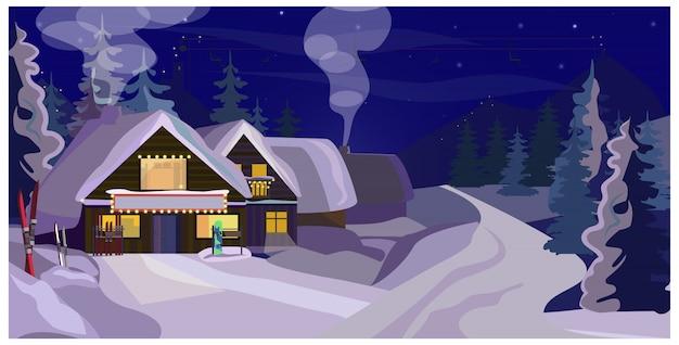 Paesaggio invernale con illustrazione di pensioni Vettore gratuito