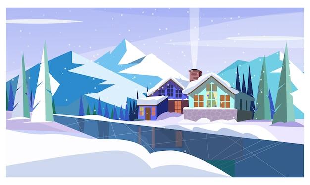 Paesaggio invernale con montagne, fiume ghiacciato e cottage Vettore gratuito