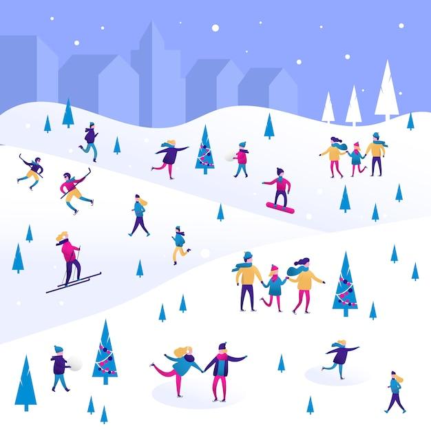 Paesaggio invernale con piccole persone, uomini e donne, bambini e famiglia. Vettore Premium