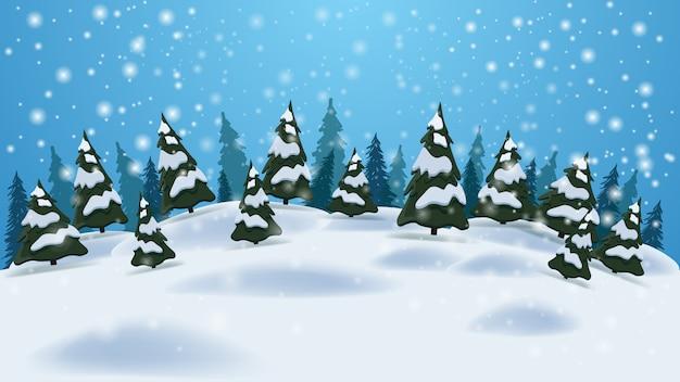 Paesaggio invernale con sfondo azzurro Vettore Premium