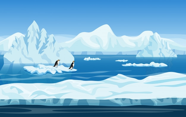 Paesaggio invernale di ghiaccio artico Vettore Premium