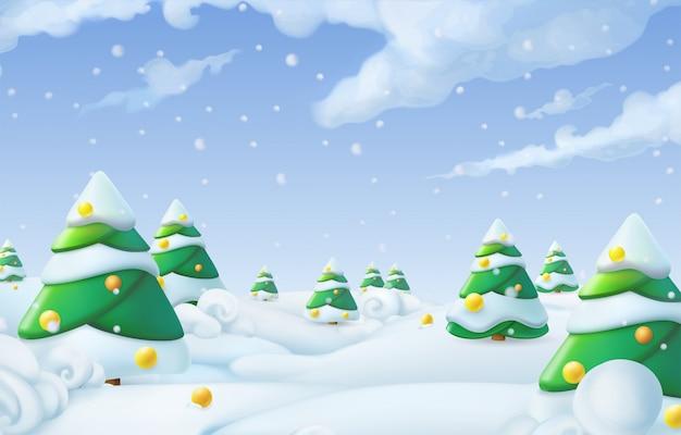 Paesaggio invernale di sfondo di natale Vettore Premium