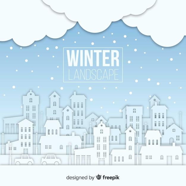 Paesaggio invernale incantevole con design piatto Vettore gratuito