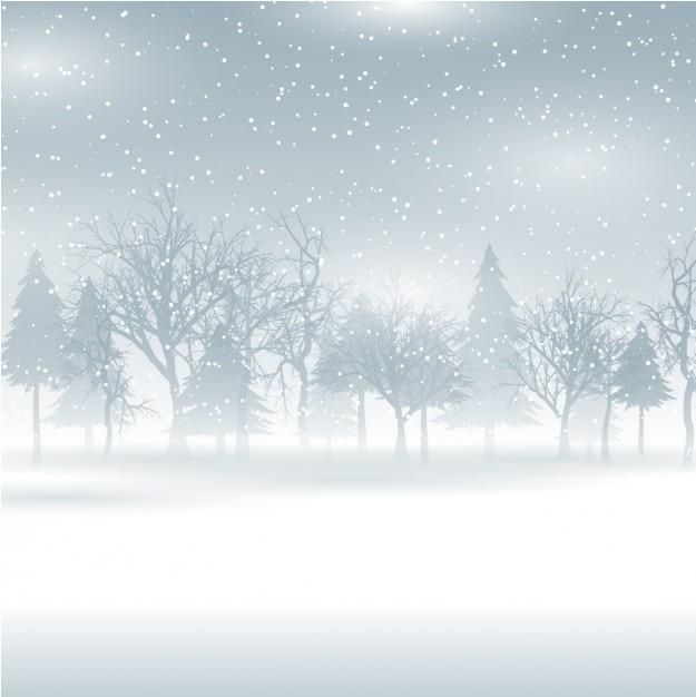 Paesaggio invernale Vettore gratuito