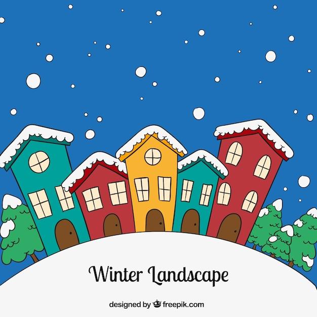 Paesaggio invernale scaricare vettori premium for Disegni paesaggio invernale