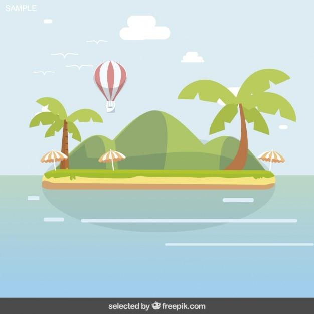 Paesaggio isola con mongolfiera Vettore gratuito