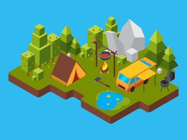 Paesaggio isometrico 3d con il campeggio nella foresta Vettore Premium