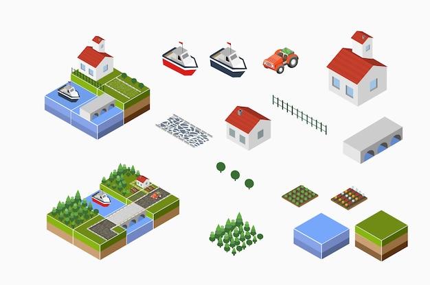 Paesaggio isometrico della campagna con fattoria, trattore, raccolto, i letti e il fiume. Vettore Premium