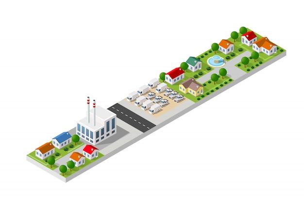 Paesaggio isometrico di una piccola città Vettore Premium