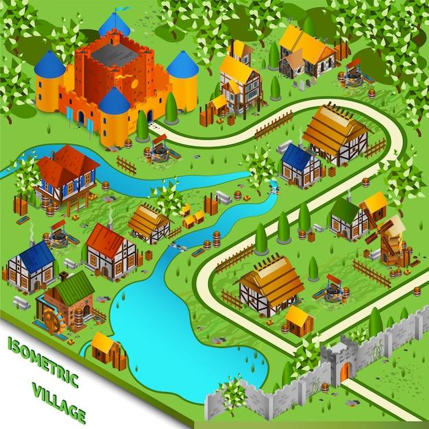 Paesaggio isometrico villaggio medievale Vettore gratuito