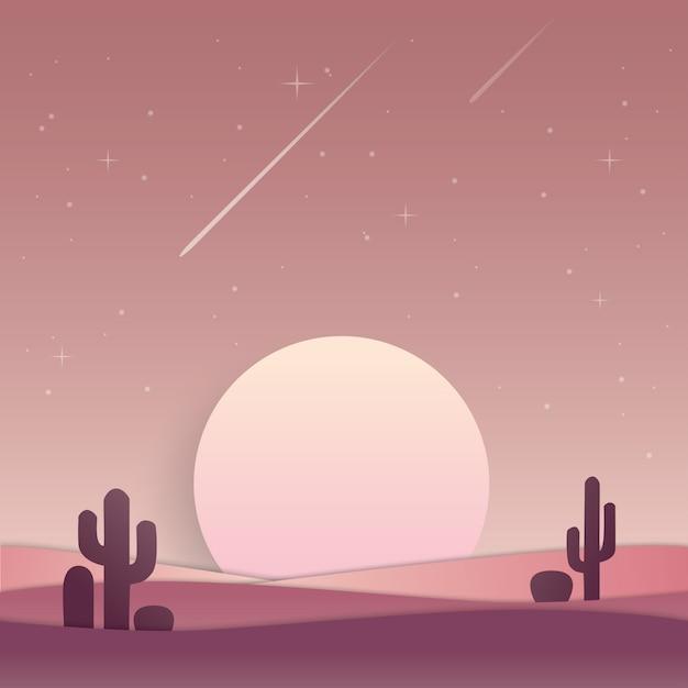 Paesaggio luna o sole, tramonto o alba nel paesaggio desertico Vettore Premium