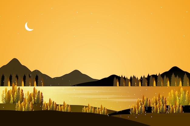 Paesaggio marino dorato fantasia Vettore Premium