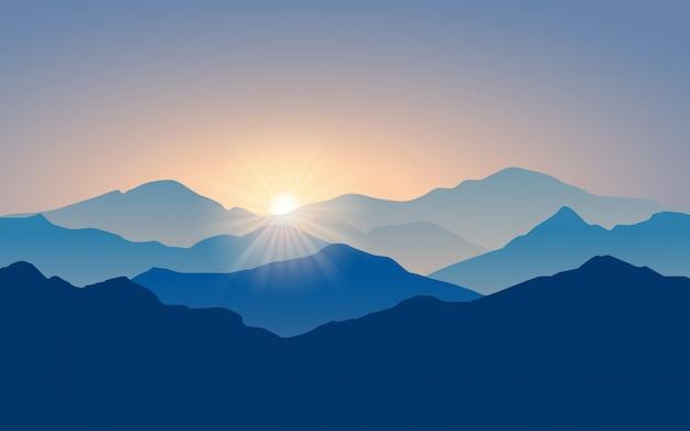 Paesaggio montano a strati con la luce del sole Vettore Premium
