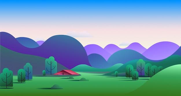 Paesaggio naturale di mattina con le colline e la tenda da campeggio sul prato - illustrazione vettoriale. Vettore gratuito
