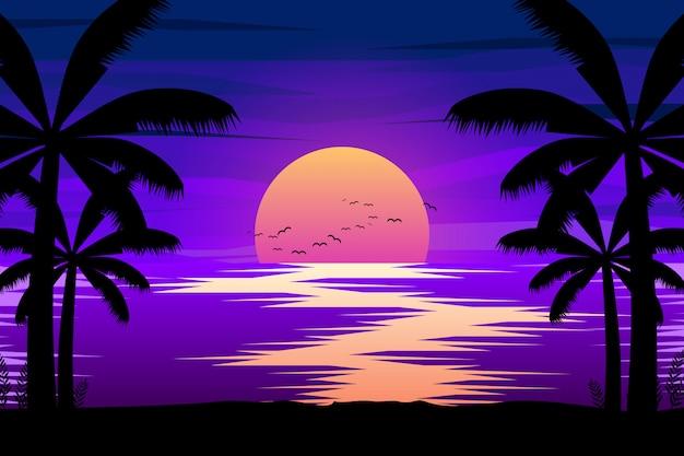 Paesaggio notturno colorato con mare e palme sagome illustrazione Vettore Premium