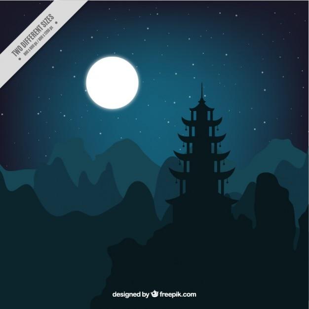 Paesaggio notturno con la luna piena Vettore gratuito