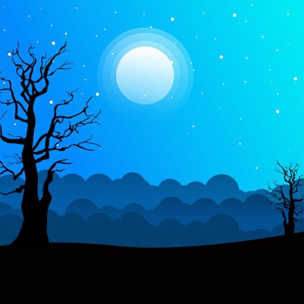 Paesaggio notturno con sagome di alberi e bel cielo notturno con stelle e la luna. Vettore Premium
