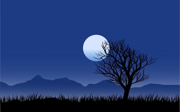 Paesaggio notturno dell'albero morto con la luna Vettore Premium