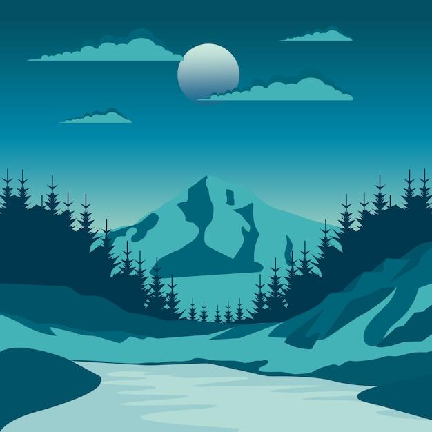 Paesaggio notturno della natura nella campagna con una luna piena e un cielo stary Vettore Premium