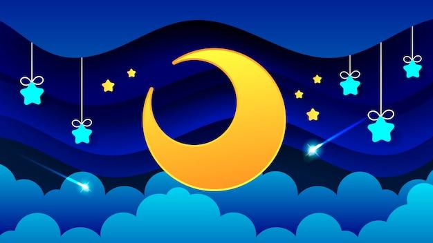 Paesaggio notturno di nuvole spesse il cielo notturno un bellissimo paesaggio Vettore Premium