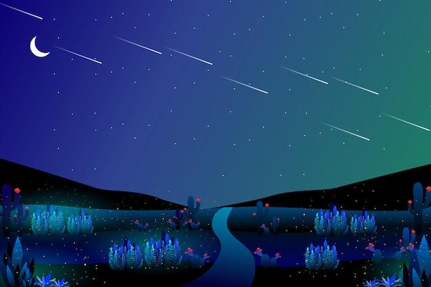 Paesaggio notturno stellato di viaggio stradale Vettore Premium