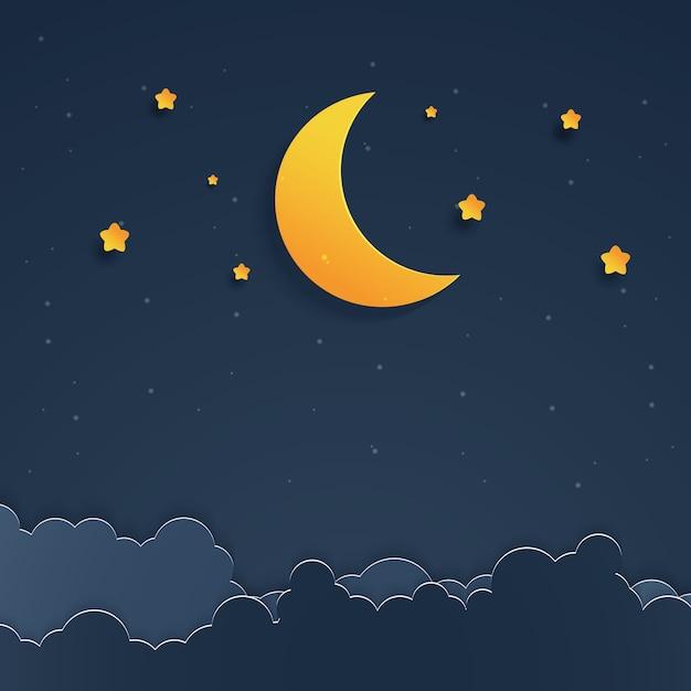 Paesaggio notturno Vettore Premium