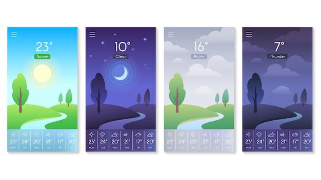 Paesaggio per set di app meteo Vettore Premium