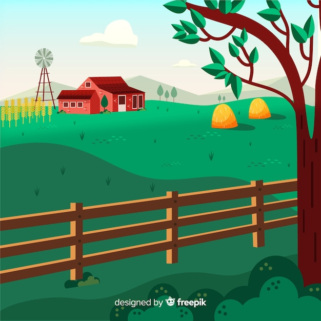 Paesaggio pianeggiante Vettore gratuito