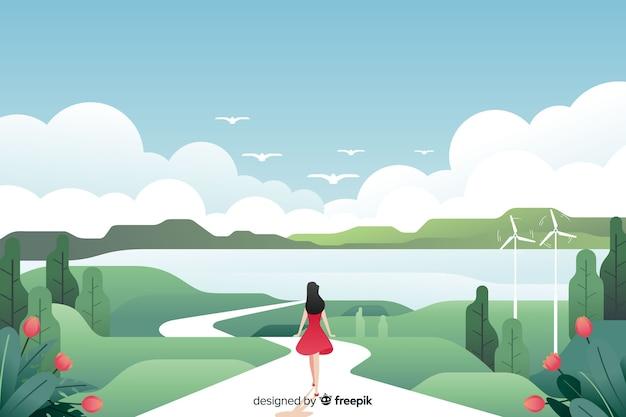 Paesaggio piatto naturale con donna che cammina Vettore Premium