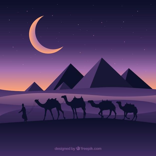 Paesaggio piatto notturno con piramidi egiziane e carovana di cammelli Vettore gratuito