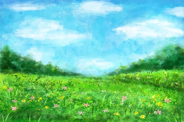 Paesaggio primaverile dell'acquerello con erba e fiori Vettore gratuito