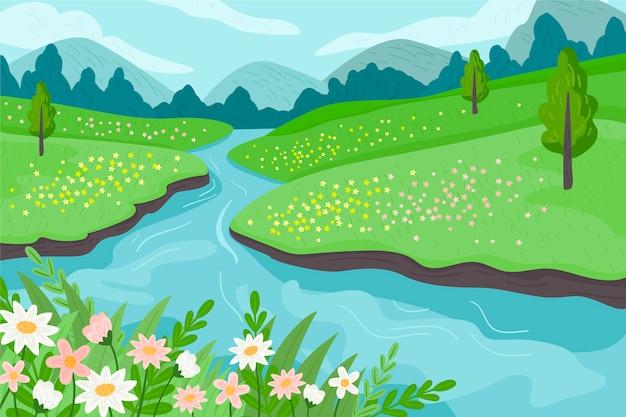 Paesaggio primaverile in design piatto Vettore gratuito