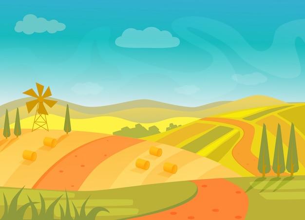 Paesaggio rurale bellissimo villaggio con montagne e colline Vettore Premium