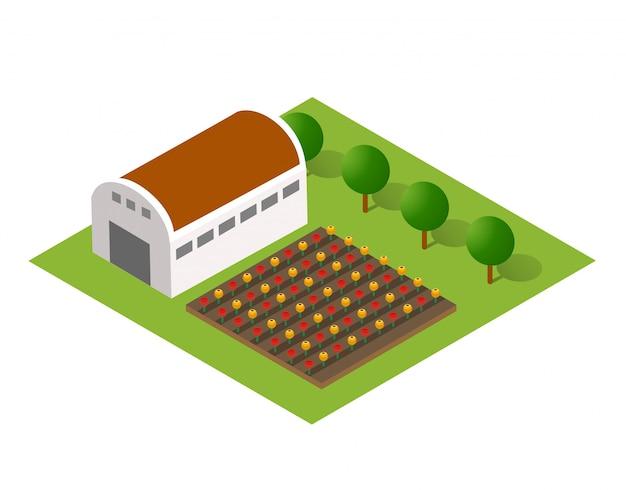 Paesaggio rurale con la natura Vettore Premium