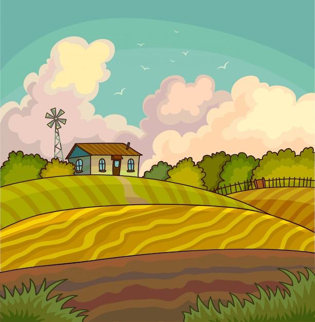 Paesaggio rurale dell'azienda agricola con il campo. Vettore Premium
