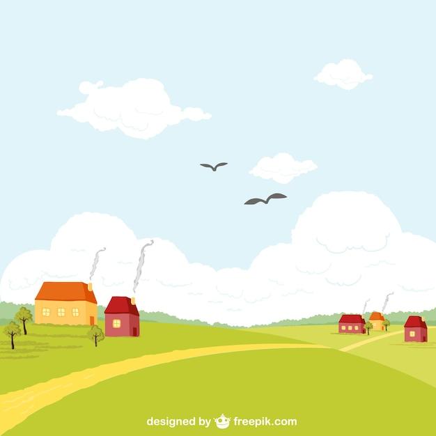 Paesaggio rurale di vettore Vettore gratuito