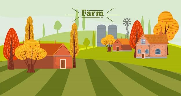 Paesaggio rurale sveglio della campagna di concetto di agricoltura di eco, con gli edifici attigui dell'azienda agricola e della casa, autunno Vettore Premium