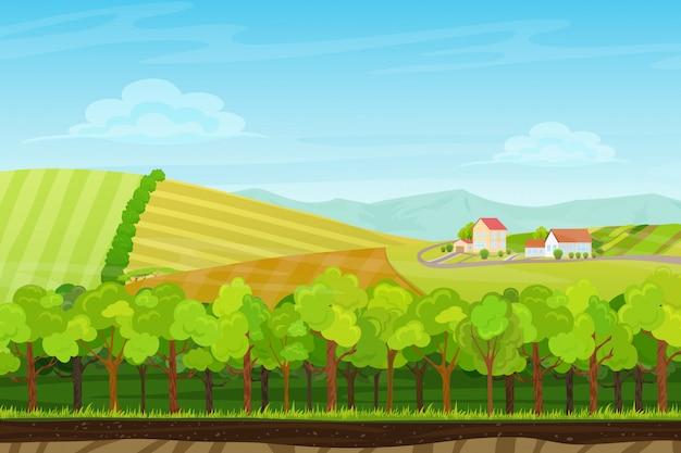 Paesaggio senza soluzione di continuità con il villaggio di fattoria Vettore Premium
