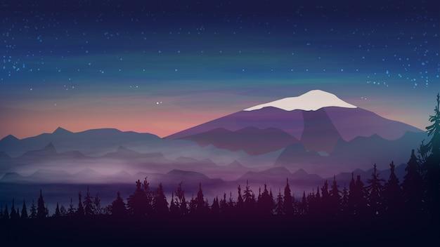 Paesaggio serale Vettore Premium