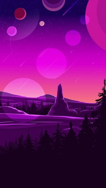 Paesaggio spaziale nei toni viola Vettore Premium
